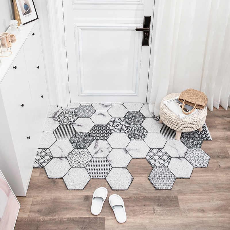 tapis d entree antiderapant anti poussiere paillasson de porte avec boucle en soie tapis de sol en forme geometrique
