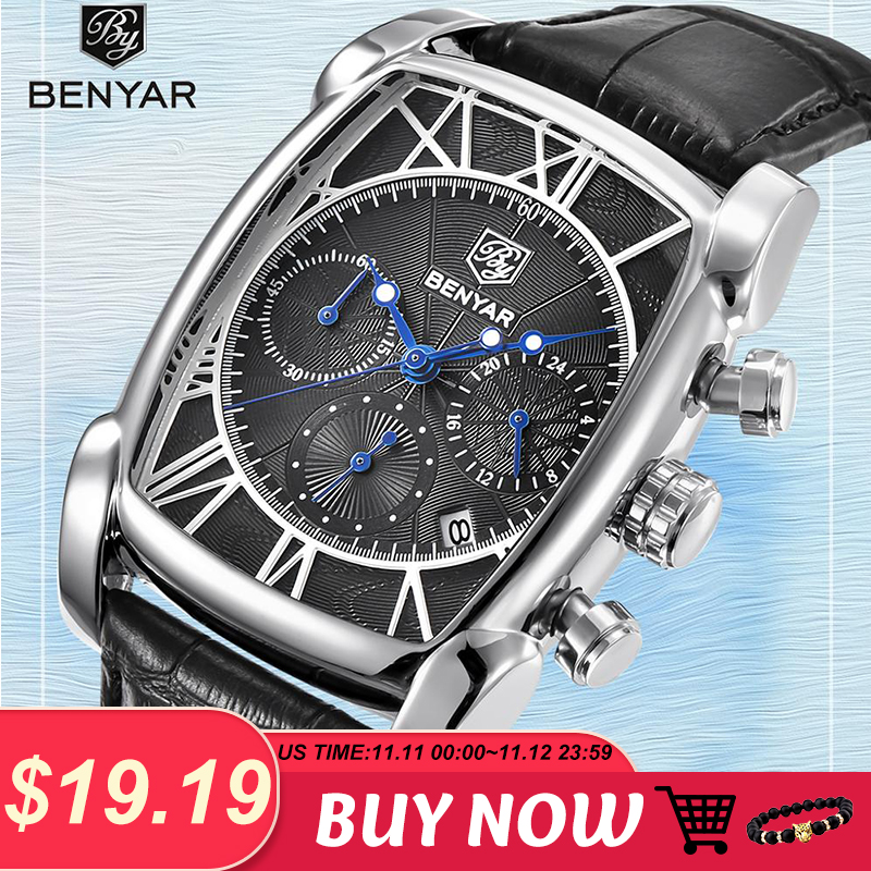 New Top Luxury Brand Mens Watches BENYAR Quartz Business Wristwatches Men Fashion Sport Waterproof Chronograph Relogio Masculino