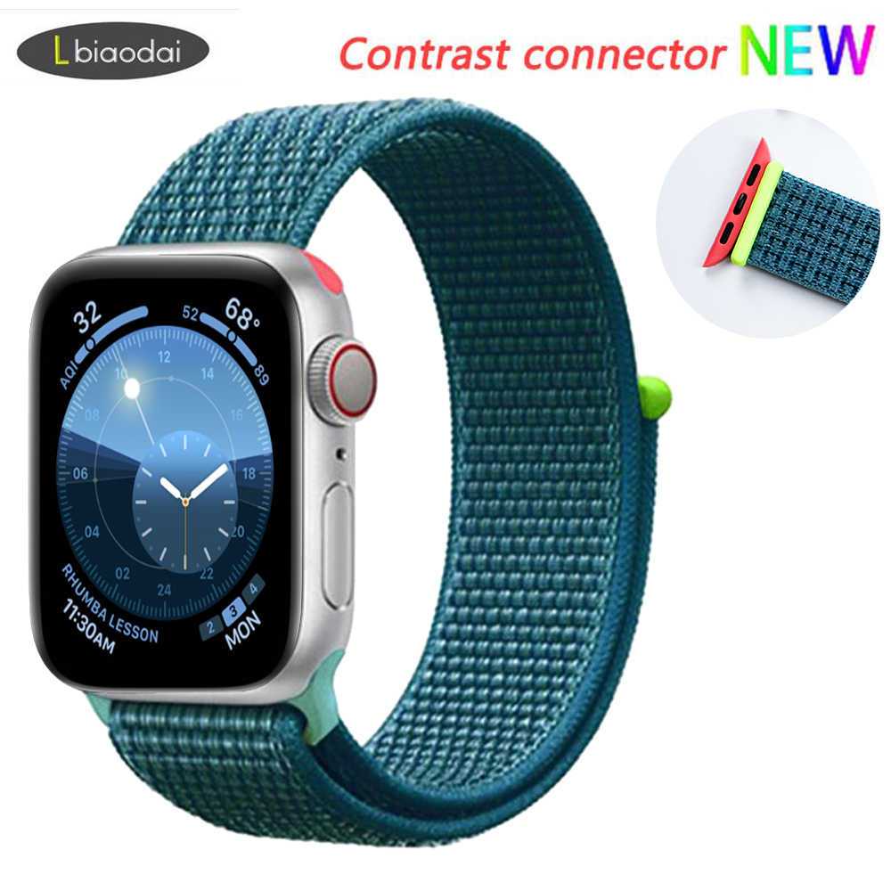 Nylon Strap for apple watch 4 band 44mm 40mm correa apple watch 38 mm iwatch band 42mm Colorful connector belt watchband 4 3 2 1