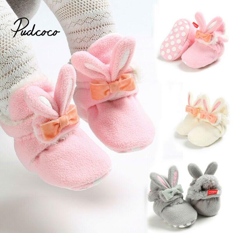 2019 Newborn Baby Boys Girls Kids Snow Boots Winter Warm Soft Sole Crib Shoes Boots Rabbit Plus Velvet Cartoon Baby Boots