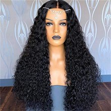 Water Wave Wig Human Hair Wigs Lace Frontal Wigs Peruvian Human Hair Wig Glueless Lace Front Human Hair Wigs For Women#g30 tanie tanio ISHOWTIENDA CN(Origin) High Temperature Fiber Curly 230g Machine One Weft