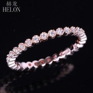 Image 2 - Женское Обручальное кольцо с натуральным бриллиантом HELON, розовое золото 18K (AU750), 15 карат, модные ювелирные украшения