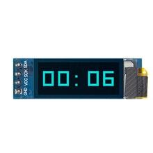 "10pcs 0.91 นิ้ว OLED โมดูล 0.91 ""Blue OLED 128X32 OLED LCD โมดูลจอแสดงผล LED 0.91"" IIC สื่อสาร D34"