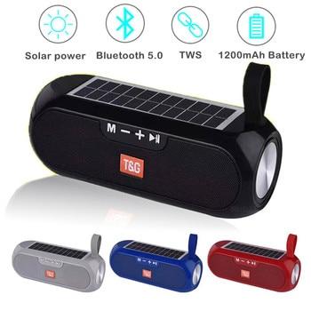 Bluetooth Speakers Portable Column Wireless Stereo Music Box Solar Power Bank Boombox MP3 Loudspeaker Outdoor Waterproof Speaker