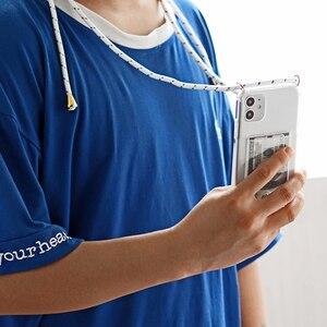 Image 5 - שרוך שרשרת טלפון מקרה עבור iphone 11 פרו xs מקס שקוף רך TPU כרטיס סוג כיסוי עבור X XS XR אנטי סתיו טלפון מקרה