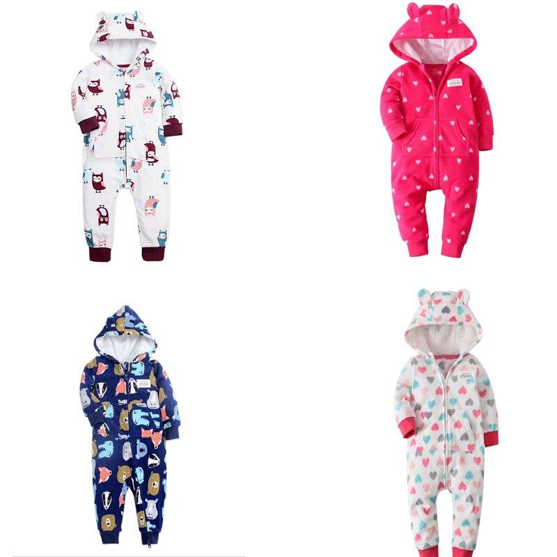 Bebê roupas de inverno 2020 unisex recém-nascido menino menina manga longa com capuz macacão infantil outwear roupas lã quente zíper