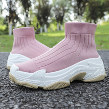 Knitted womens shoes Sneakers Women Men Knit Upper Breathable Sport Shoes Sock Boots Woman Chunky High Top Running For Multi-style, multi-color, good quality factory promotional price