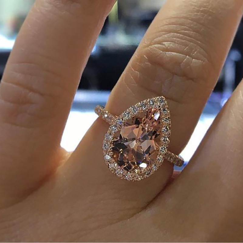 Rose Gold Color Champagne Engagement Ring Female Fashion Elegant Cubic Zirconia Wedding Ring For Women Jewelry Size6 10 Leather Bag