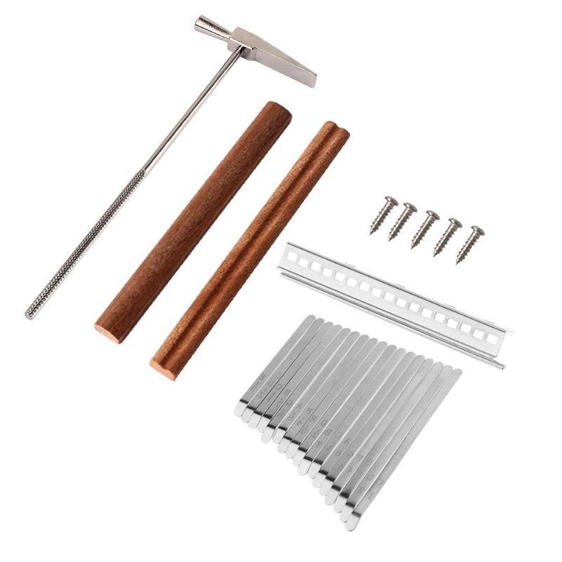 17 Keys Kalimba DIY Steel Keys+Wood Bridge+Steel Tuning Hammer Kit Thumb Piano Musical Instrument Part Accessories