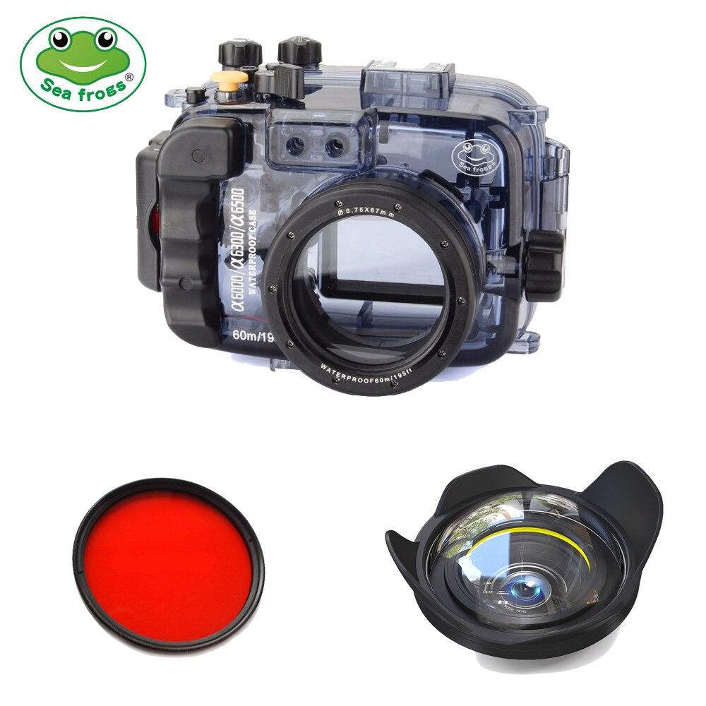 Seafrogs 60 м/195ft Водонепроницаемая подводная камера корпус чехол для sony Alpha A6000 A6300 A6500 (корпус + крышка + красный фильтр)