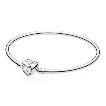 Original 925 Sterling Silver Bracelet Snake Chain Fit pana Sparking Heart Bangle For Women Bracelet Beads Charms 2020 100% 925 silver sterling bracelet for woman with heart chain ice charms fashion bills free shipping