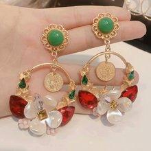 antique retro Baroque pearl pendant palace extension green long earring women bohemian  rhinestone earrings