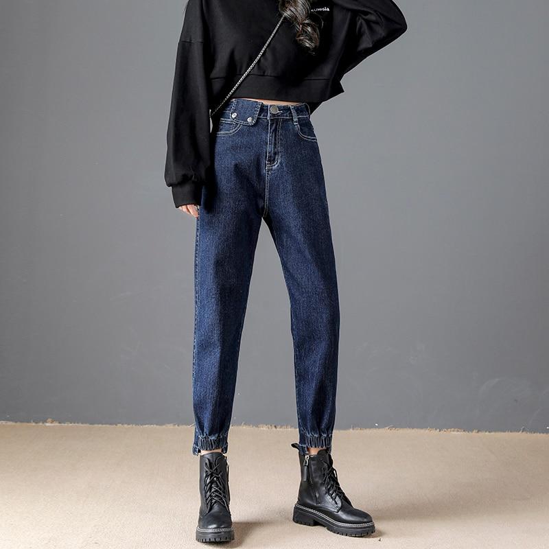 Новые джинсы, шаровары, винтажные женские высокоэластичные джинсовые брюки с высокой талией, женские джинсовые брюки бойфренда, джинсы с девятью точками