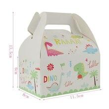 Dinozaur papier tematyczny pudełko dżungla Party worek na cukierki pudełko na Popcorn Party Favor Cupcake dekoracje na imprezę urodzinową