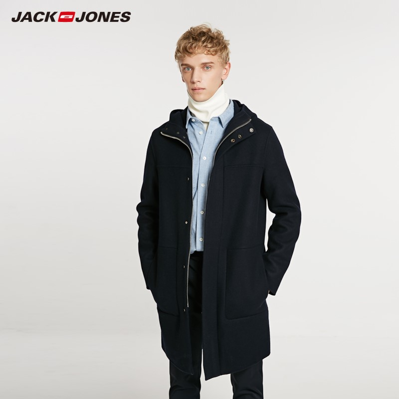 JackJones Winter Men's Stand Collar Loose Long Woolen Coat Fashion Basic Menswear 218427505