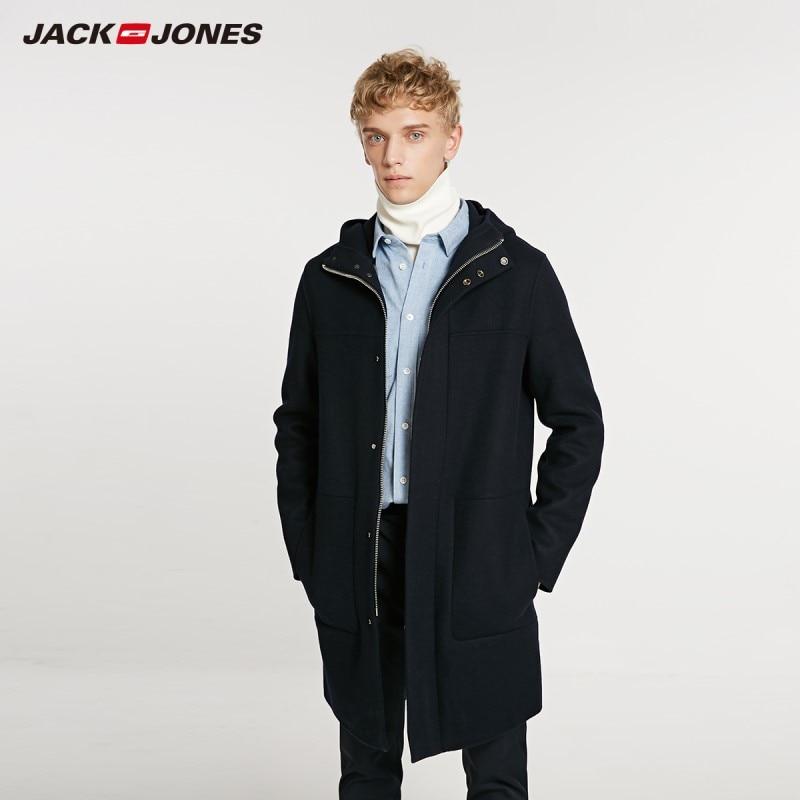 JackJones Men's Stand Collar Loose Long Woolen Coat Fashion basic Menswear 218427505