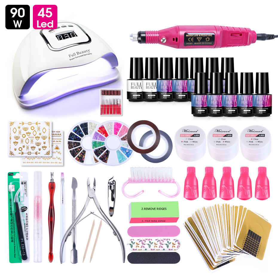 Acrylic Gel Nail Set With UV LED Lamp Professional Nails Art Extention Gel Varnish Rhinestone Manicure Tools Accessories LY1581