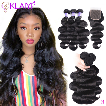 KLAIYI Hair Brazilian Body Wave With Closure 4 PCS Remy Hair Weave Bundles With Closure 100% Human Hair 3 Bundles With Closure 1