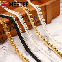 Meetee 5yards 1cm Gold Pearl Beaded Embroidered Lace Trim Ribbon Fabric Handmade DIY Costume Dress Sewing Supplies Craft AP346