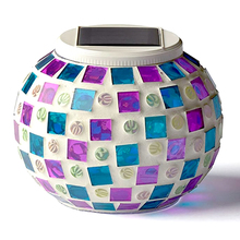 Color Changing Solar Powered Lights Mosaic Glass Ball Led Night Light for Patio Garden Table Lamps Party for Decorations Apr16
