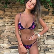 New Sexy Floral Patchwork Bikini Women Swimsuit Metal Ring Bathing Suit S-L Girl Backless Padded Swimwear Pearl Micro Set