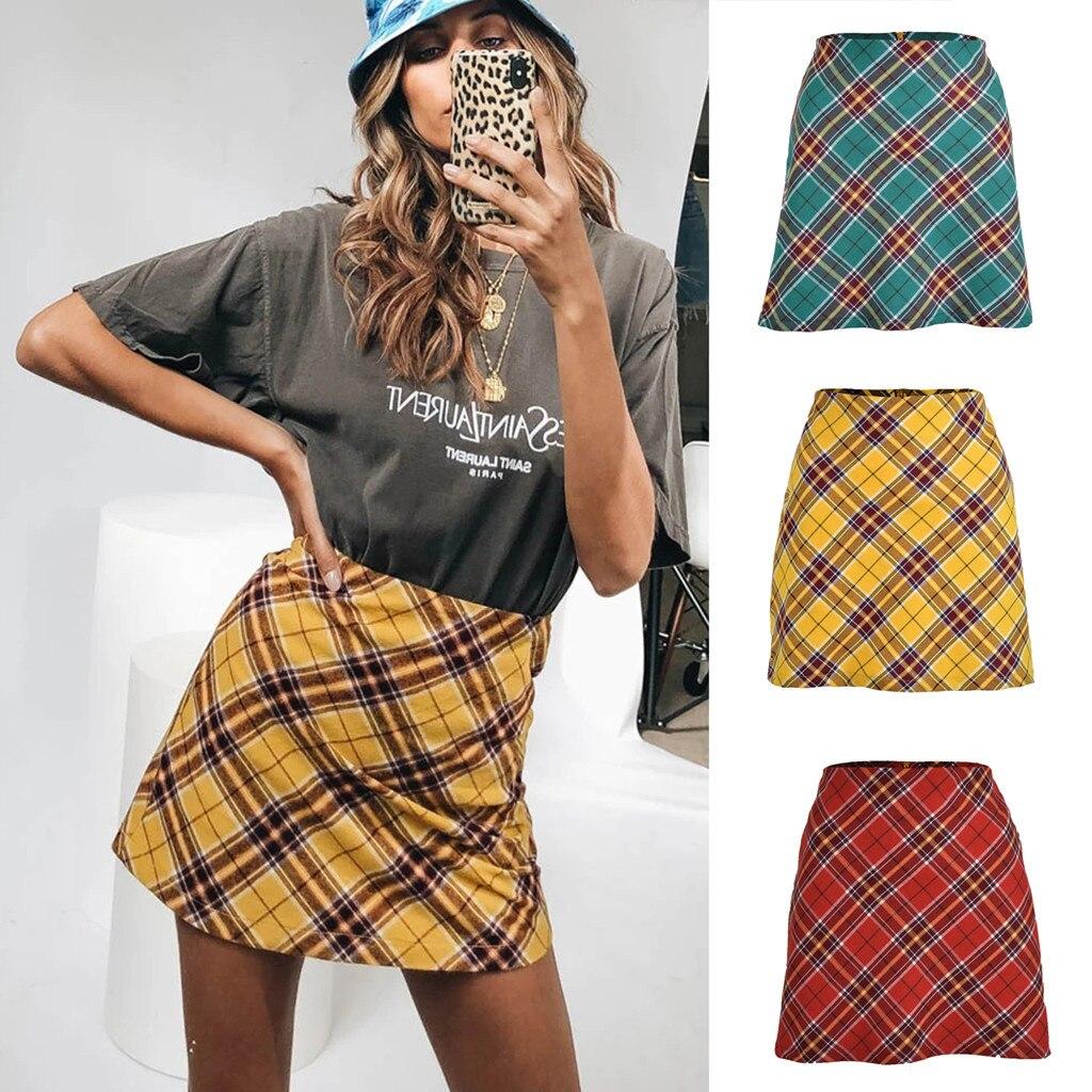 Mature Womens Sexy Party Fashion Skirt Plaid Zipper Wooden Ear Slim High Waist Hip Short Mini Skirt