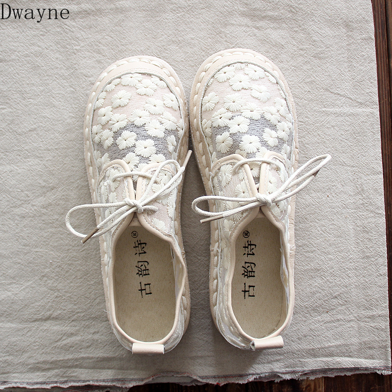 Summer new retro art white shoes mesh breathable lace fisherman shoes fashion sandals