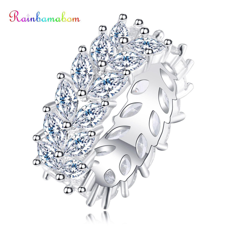 Rainbamabom Luxury 925 Solid Sterling Silver Created Moissanite Gemstone Wedding Engagement Cocktail Ring Fine Jewelry Wholesale