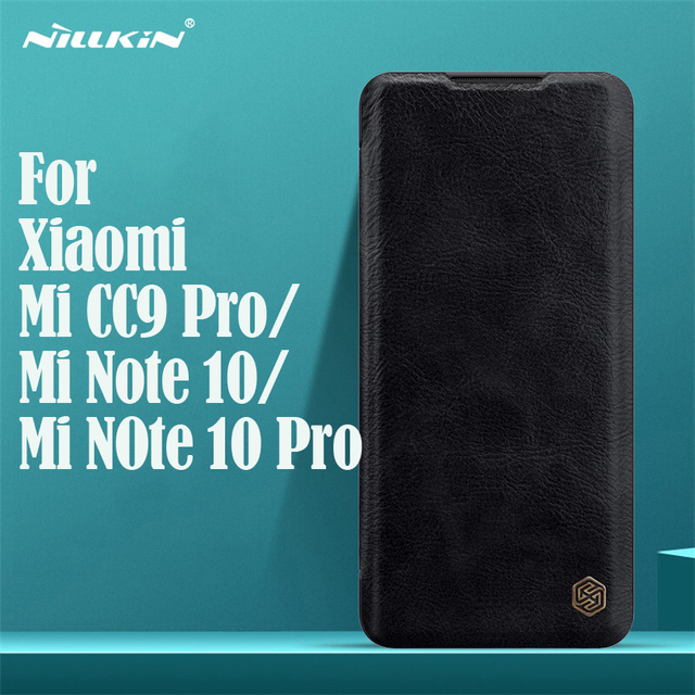 For Xiaomi Mi Note 10 Pro CC9 Pro Flip Case Nillkin Qin Vintage Leather Flip Cover Card Pocket Wallet Case For Xiaomi Mi Note10