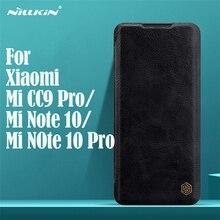 Флип чехол Nillkin Qin для Xiaomi Mi Note 10 Pro CC9 Pro, винтажный кожаный чехол книжка с карманом для карт, чехол бумажник для Xiaomi Mi Note10