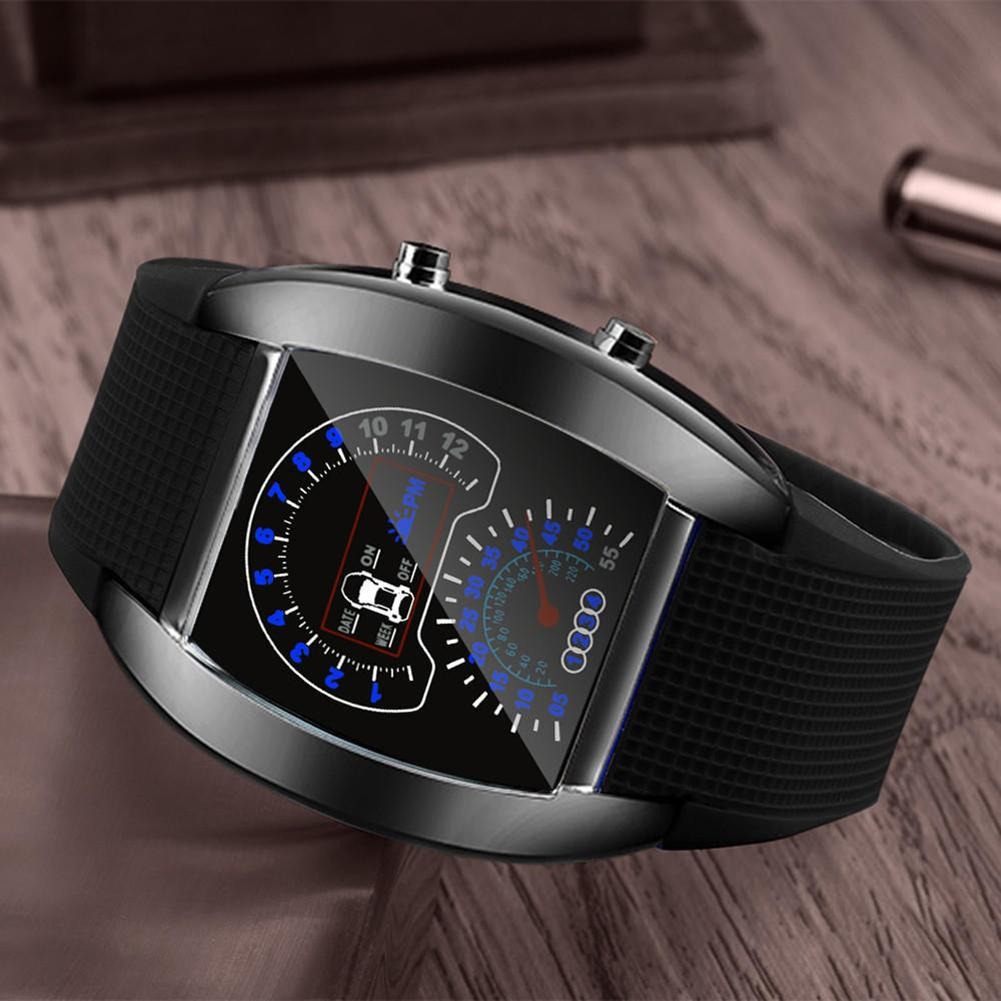 Men LED Aviation Pilot Speedometer Sports Car Meter Dial Digital Wrist Watch Superior Material Exquisite Workmanship Men Watch