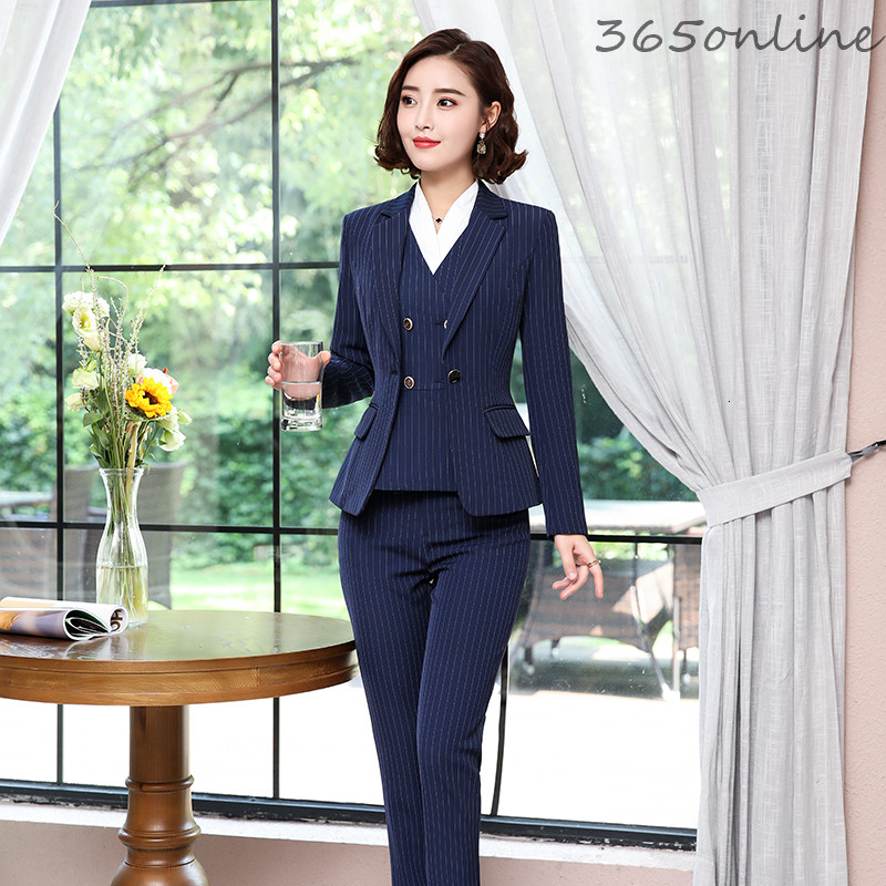 Novelty Striped Formal Women Business Suits OL Styles Professional Blazers For Ladies Office Work Wear Autumn Winter Pantsuits