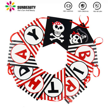 Pirate Happy Birthday Banner Pirate Theme Polka Dots Striped Printed Pirate Party Pirate Banner Photo Prop Happy First Birthday