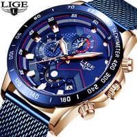 LIGE mode nouveau hommes montres marque de luxe montre-bracelet Quartz horloge bleu montre hommes étanche Sport chronographe Relogio Masculino