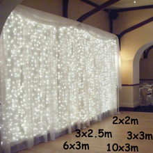 3x 1 3x 3 6x3m sopel LED łańcuchy świetlne bajkowe oświetlenie bożonarodzeniowe garland Outdoor Home na ślub imprezę zasłonę dekoracje ogrodowe tanie tanio KIKIELF 1 year THANKSGIVING Z tworzywa sztucznego Żarówki Brak 220 v 79inch 30 m Ue wtyczka White Ciepły biały 20-50 głowy