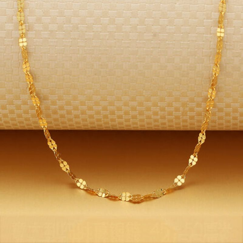 Pure 18k Yellow Gold Necklace Women Luck 1.8mmW Clover Link Chain 18inch 1-1.5g
