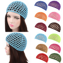 Moda mujer rayón suave Crochet Hairnet gorro de punto 17 colores Snood pelo red diademas señora malla Net Crochet Caps(China)