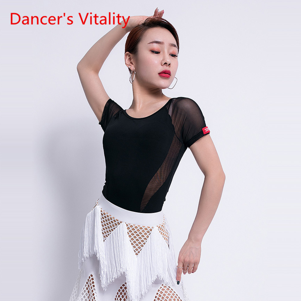 New Latin Dance Female Adult Sexy Tops Short Sleeve Latin Training Suit Performance Dance Clothes Exercise Clothing