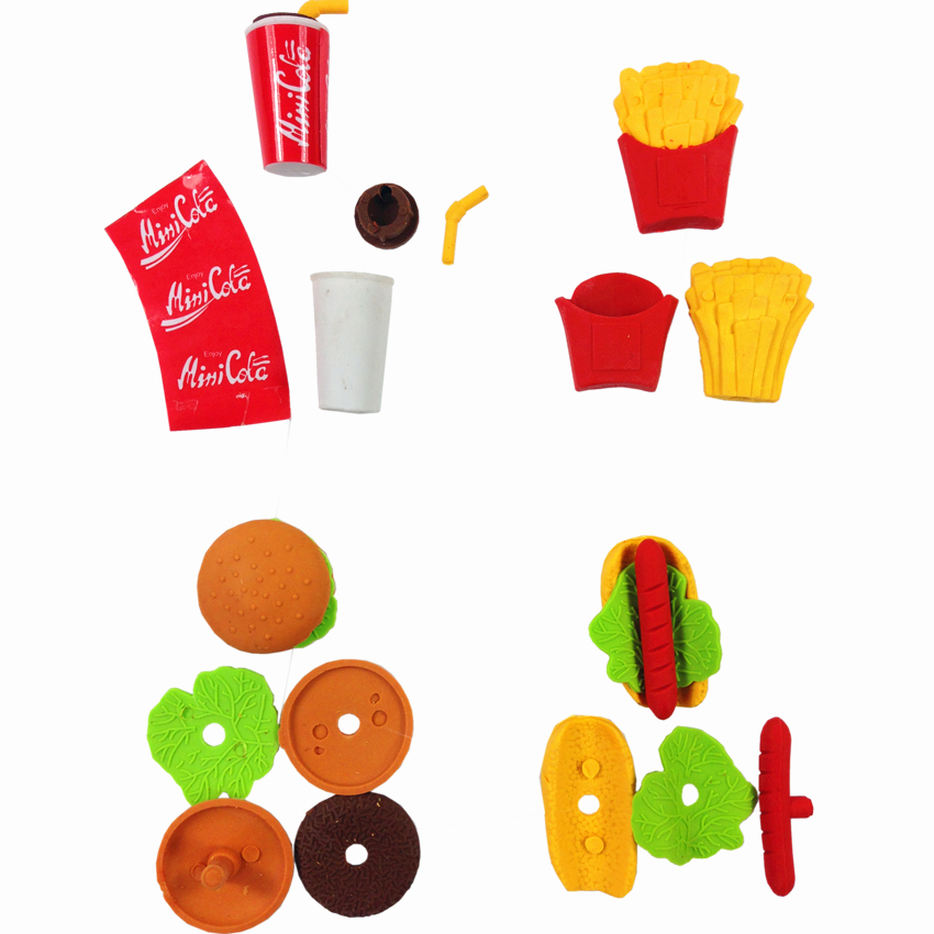 36pcs/lot Hamburger Fries Pattern Design Eraser Stationery School Office Supplies Wholesale