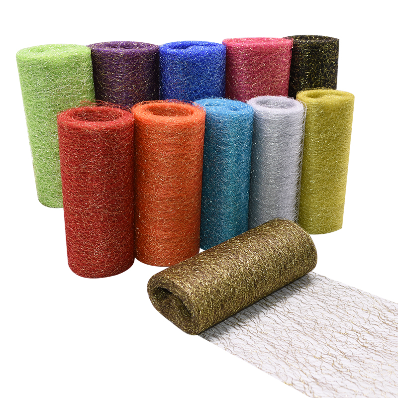 10 Yard/Lot 15cm Metallic Tulle Roll Party DIY Decoration Wedding Supplies Scrapbooking Table Sashes Chair Bow Organza Fabric