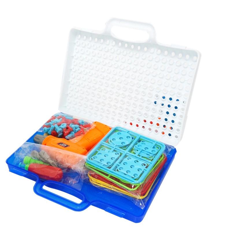 Kids Drill Screw Nut Design Kit Puzzle Toys Creative Educational Toys Plastic Assembled Design Tools Kit Toys Drill Boys Toys
