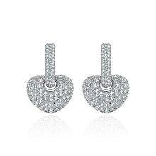 NJ Crystal Silver Heart Ear Drop Sparking Hanging Dangle Earrings Womens Jewelry Gift