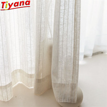 High-quality Cotton and Linen Striped Curtains Tulle for Living Room Simple Japanese Style Flax Window Drapes Voile WH129#30