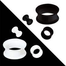 1pairs/lot Silicone Ear Plugs and Tunnels Black White Tunnel Plug Stretcher Body Jewlery Piercing