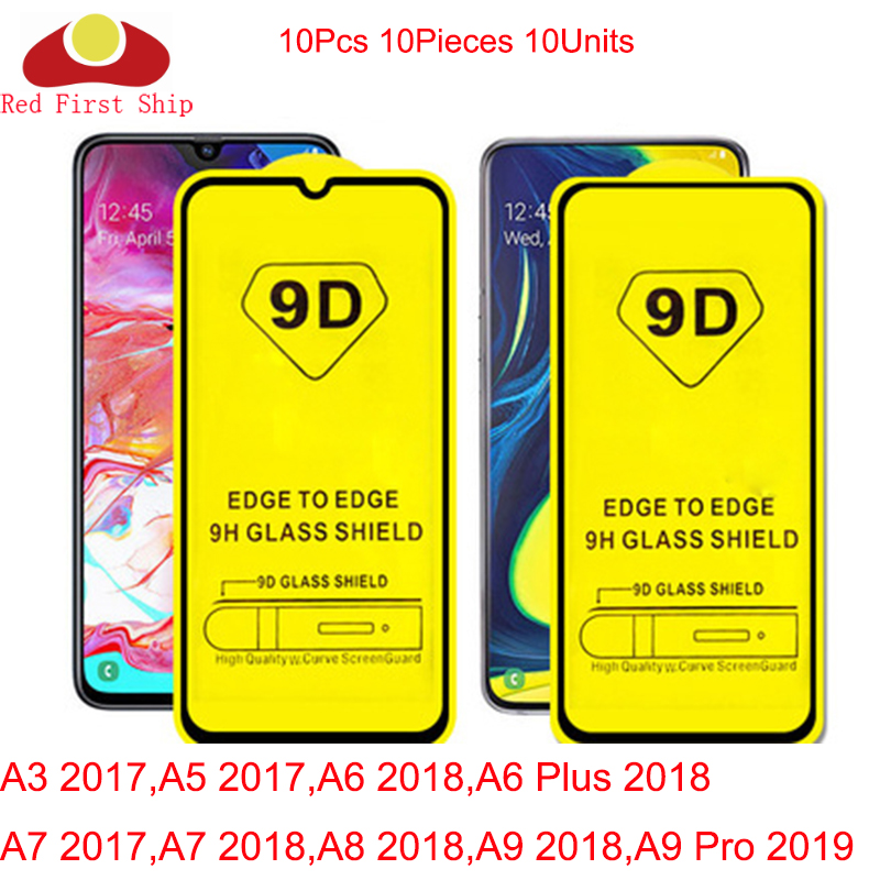 10Pcs/lot 9D Tempered Glass For Samsung <font><b>Galaxy</b></font> A3 <font><b>A5</b></font> A6 A7 A8 2017 <font><b>2018</b></font> <font><b>screen</b></font> Protector A9 <font><b>2018</b></font> 2019 cover film Movie 9H image