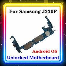 Para samsung galaxy j3 j330f placa mãe com chips completos bem testado limpo original substituído placa principal android os instalado