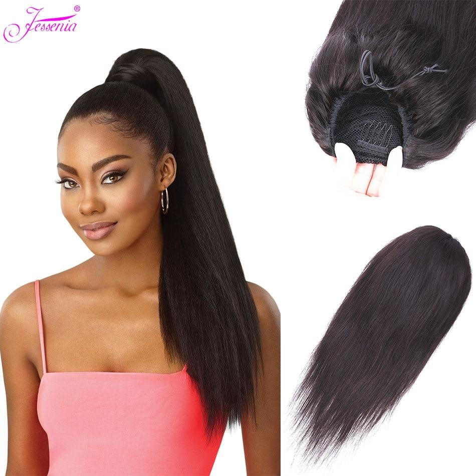 Jessenia Ponytail Extension Human Hair Clip In Extension Straight Remy Hair Extension Brazilian Hair Drawstring Ponytail