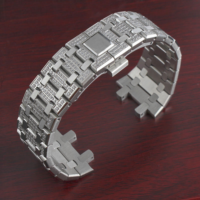 26mm Men Silver Diamond With Stainless Steel Watch Band Bracelet For AP ROYAL OAK Strap Folding Buckle With Engraving