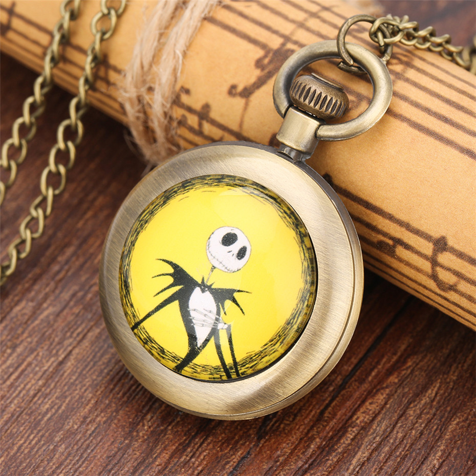 Hot New Children Bronze Pendant Quartz Pocket Watch The Nightmare Before Christmas Back Cover Design Necklace Clock Gifts Kids