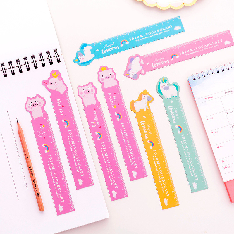 1Pcs 15cm Cute Cartoon Pig Unicorn Plastic Ruler Colour Modeling Student Ruler School Supplies Statoionery